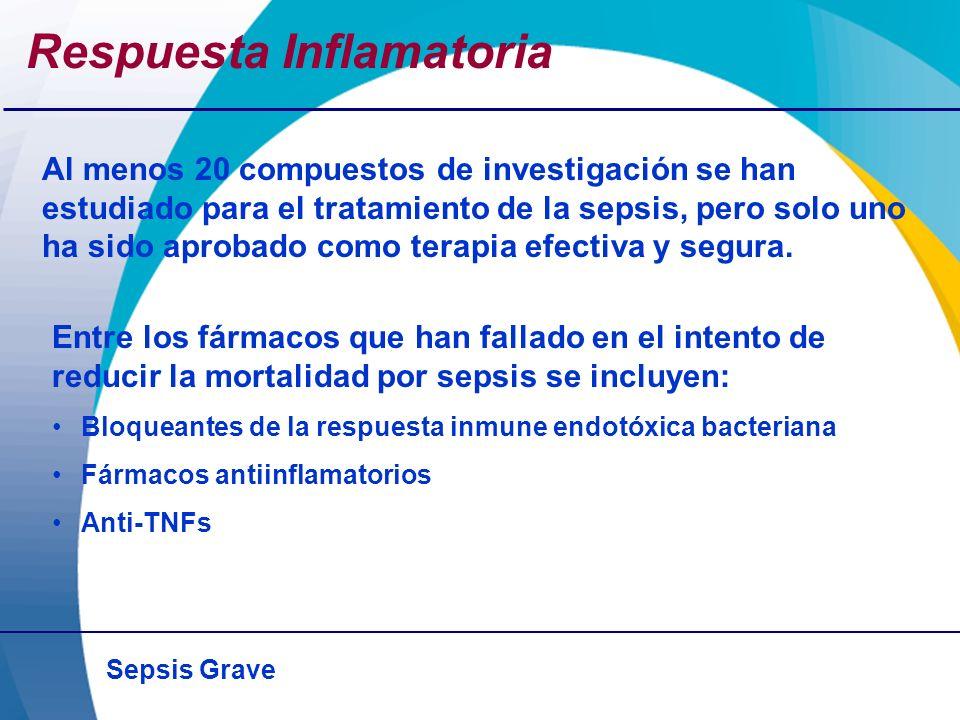 Sepsis Grave Respuesta Inflamatoria Al menos 20 compuestos de investigación se han estudiado para el tratamiento de la sepsis, pero solo uno ha sido a