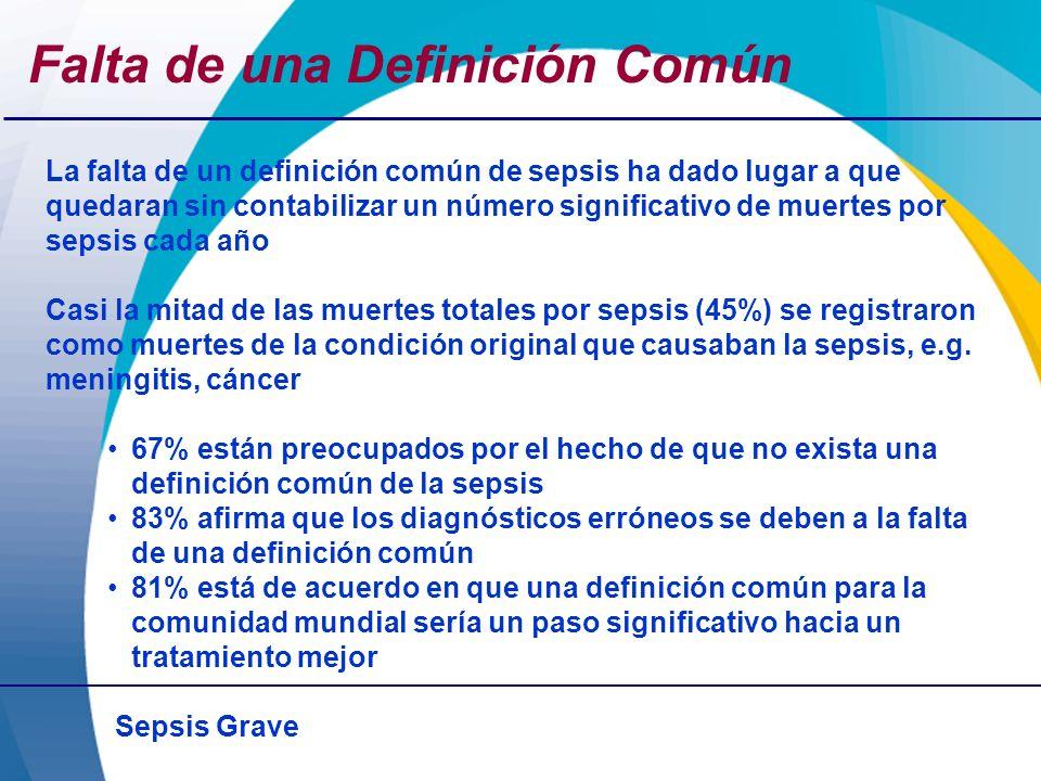 Sepsis Grave Falta de una Definición Común La falta de un definición común de sepsis ha dado lugar a que quedaran sin contabilizar un número significa