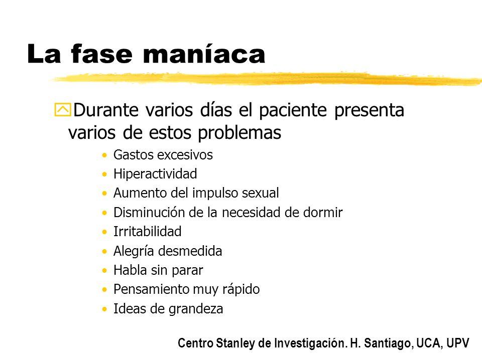 Centro Stanley de Investigación. H. Santiago, UCA, UPV La fase maníaca yDurante varios días el paciente presenta varios de estos problemas Gastos exce