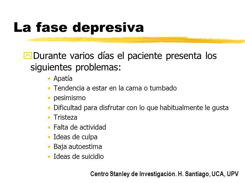 Centro Stanley de Investigación. H. Santiago, UCA, UPV La fase depresiva yDurante varios días el paciente presenta los siguientes problemas: Apatía Te