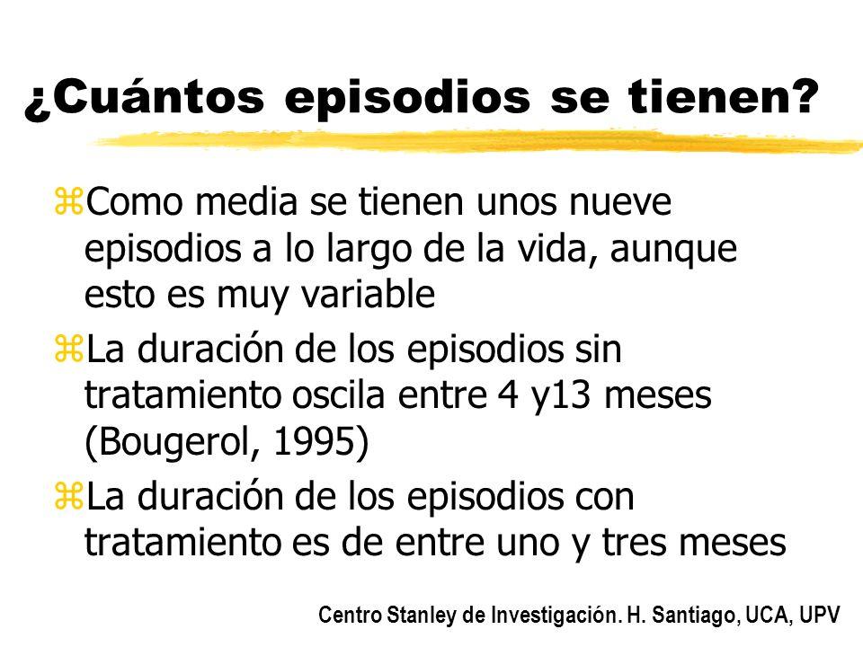 Centro Stanley de Investigación. H. Santiago, UCA, UPV ¿Cuántos episodios se tienen? zComo media se tienen unos nueve episodios a lo largo de la vida,