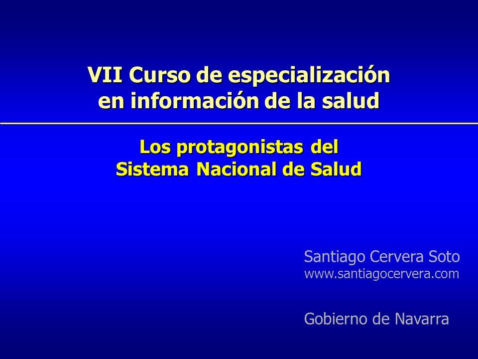 VII Curso de especialización en información de la salud Los protagonistas del Sistema Nacional de Salud Santiago Cervera Soto www.santiagocervera.com