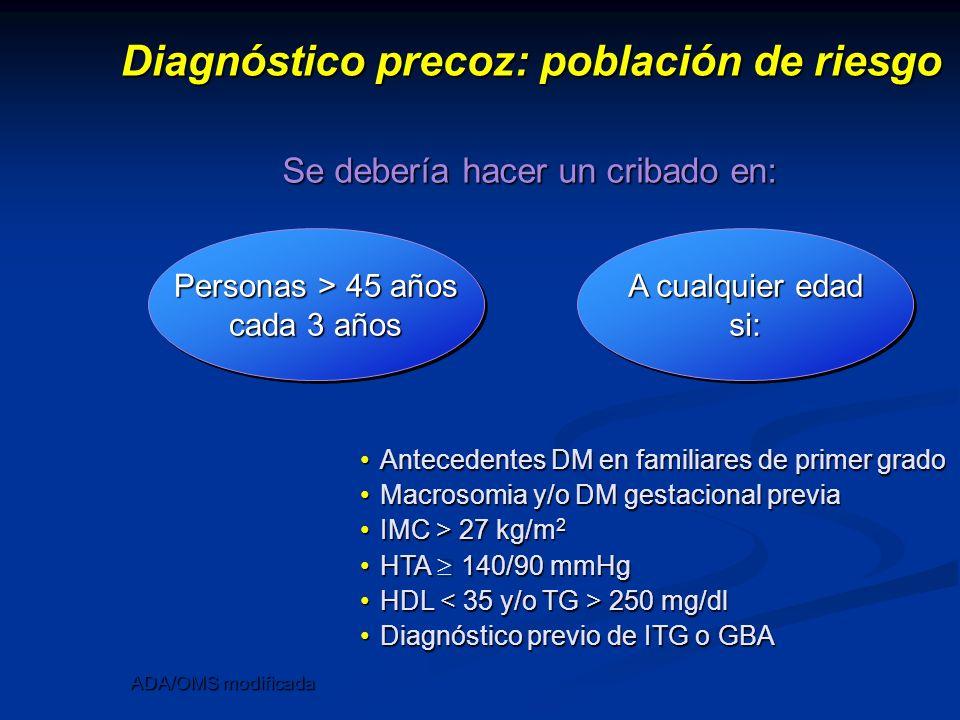 Diagnóstico precoz: población de riesgo ADA/OMS modificada Personas > 45 años cada 3 años A cualquier edad si: Se debería hacer un cribado en: Anteced