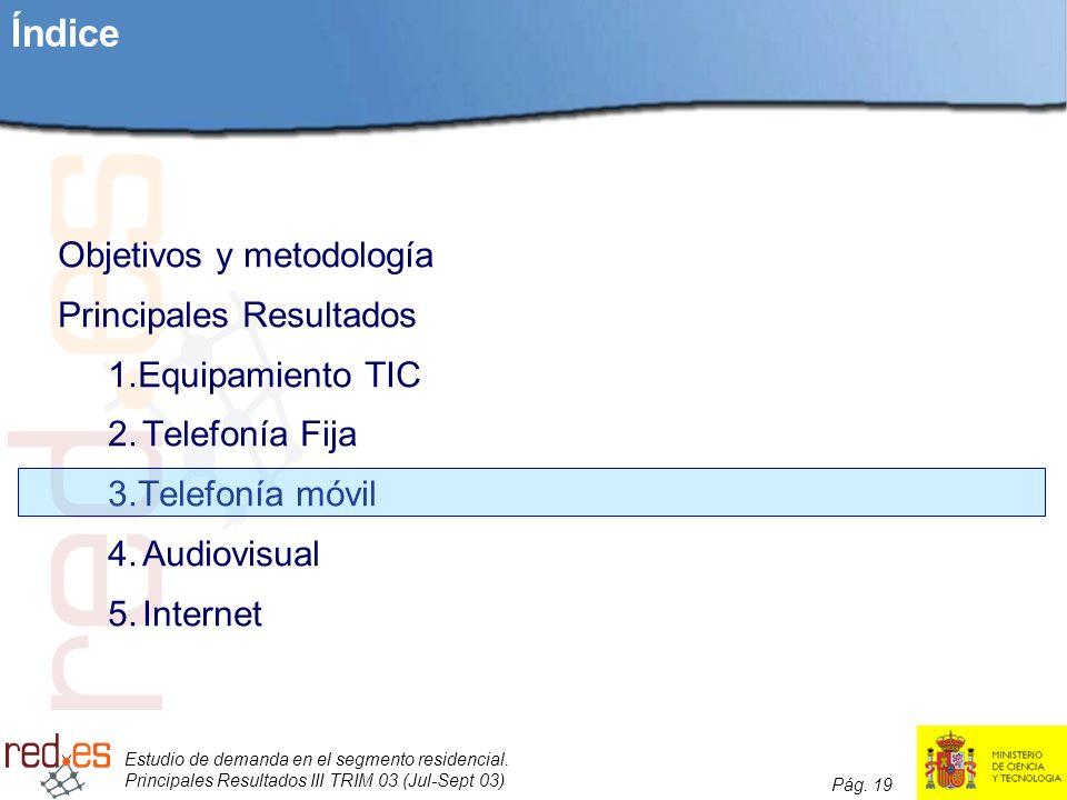 Estudio de demanda en el segmento residencial. Principales Resultados III TRIM 03 (Jul-Sept 03) Pág. 19 Índice Objetivos y metodología Principales Res