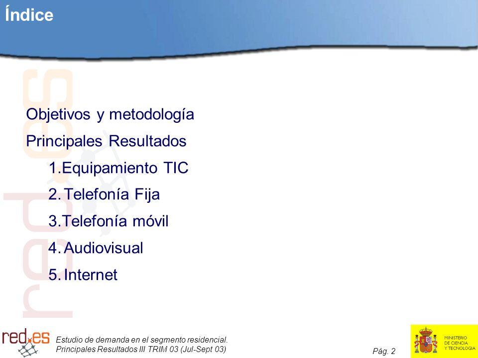 Estudio de demanda en el segmento residencial. Principales Resultados III TRIM 03 (Jul-Sept 03) Pág. 2 Índice Objetivos y metodología Principales Resu