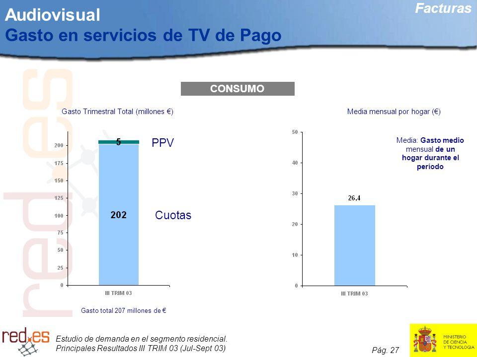 Estudio de demanda en el segmento residencial. Principales Resultados III TRIM 03 (Jul-Sept 03) Pág. 27 Audiovisual Gasto en servicios de TV de Pago C