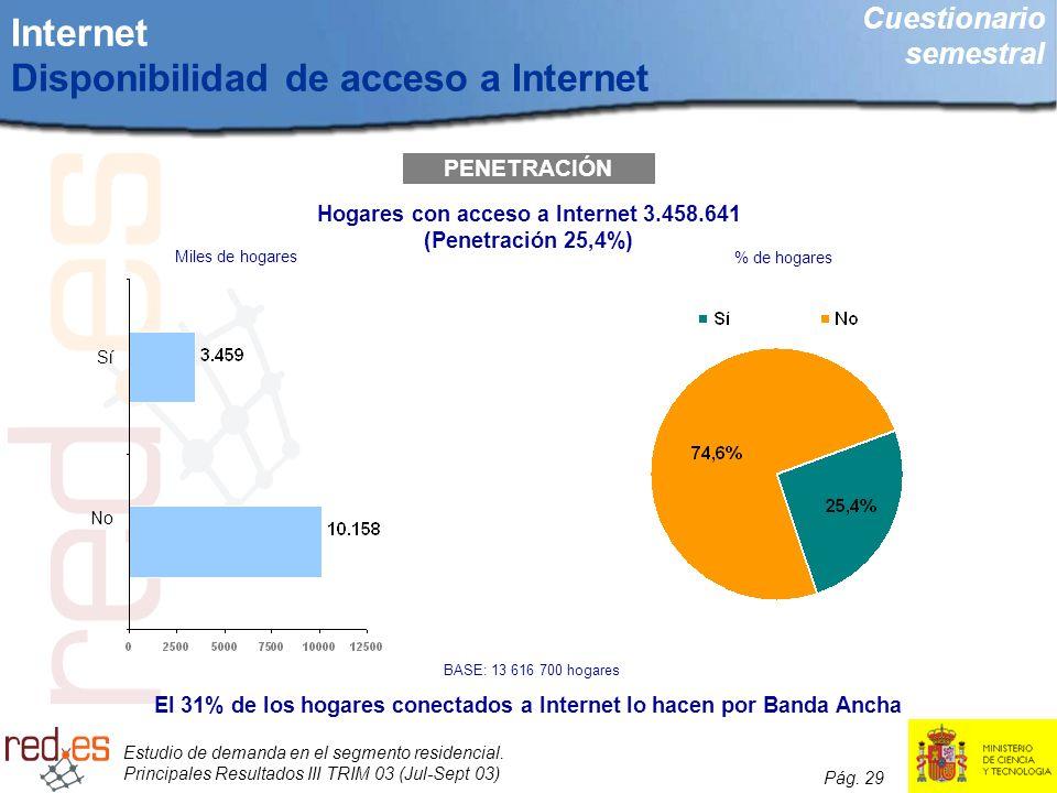 Estudio de demanda en el segmento residencial. Principales Resultados III TRIM 03 (Jul-Sept 03) Pág. 29 Internet Disponibilidad de acceso a Internet P