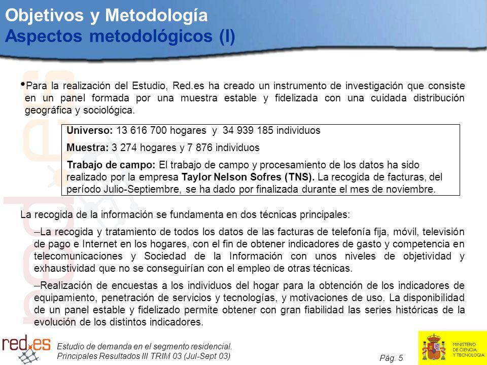 Estudio de demanda en el segmento residencial. Principales Resultados III TRIM 03 (Jul-Sept 03) Pág. 5 Objetivos y Metodología Aspectos metodológicos