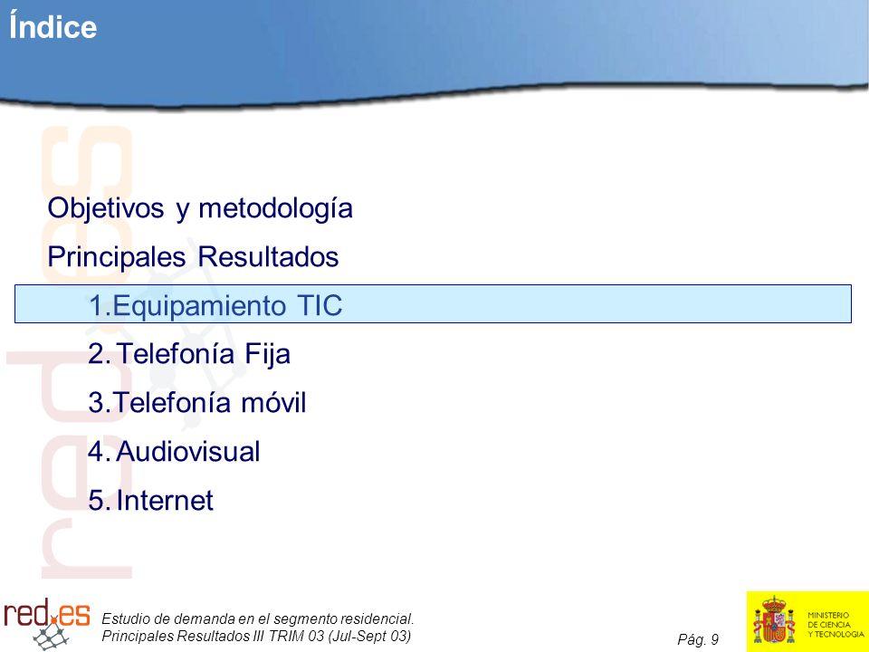 Estudio de demanda en el segmento residencial. Principales Resultados III TRIM 03 (Jul-Sept 03) Pág. 9 Índice Objetivos y metodología Principales Resu