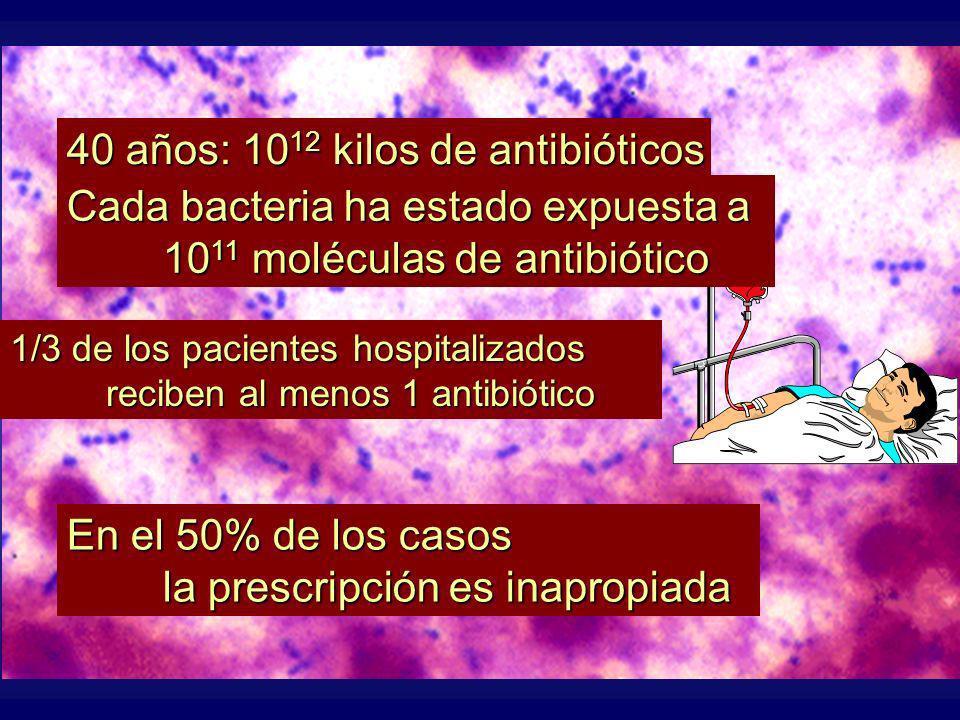 En el 50% de los casos la prescripción es inapropiada 1/3 de los pacientes hospitalizados reciben al menos 1 antibiótico 40 años: 10 12 kilos de antibióticos Cada bacteria ha estado expuesta a 10 11 moléculas de antibiótico