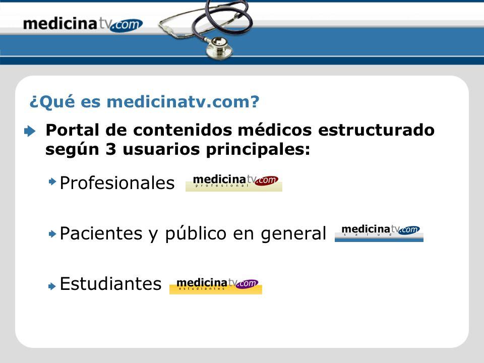 Profesionales Pacientes y público en general Estudiantes ¿Qué es medicinatv.com? Portal de contenidos médicos estructurado según 3 usuarios principale