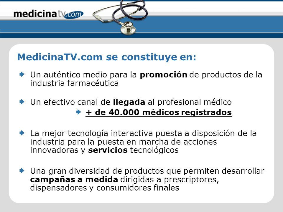 Un auténtico medio para la promoción de productos de la industria farmacéutica Un efectivo canal de llegada al profesional médico La mejor tecnología