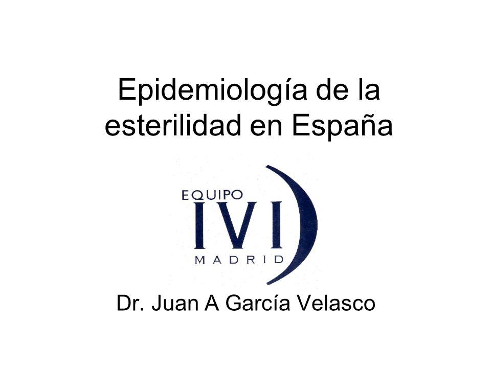 Epidemiología de la esterilidad en España Dr. Juan A García Velasco