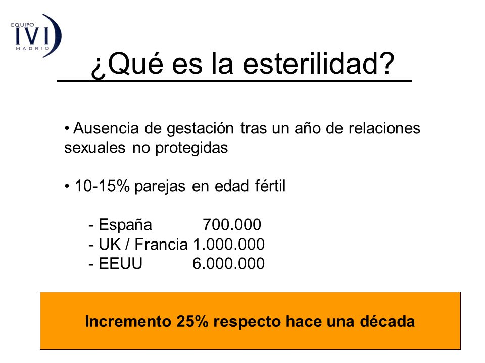 ¿Qué es la esterilidad? Ausencia de gestación tras un año de relaciones sexuales no protegidas 10-15% parejas en edad fértil - España 700.000 - UK / F