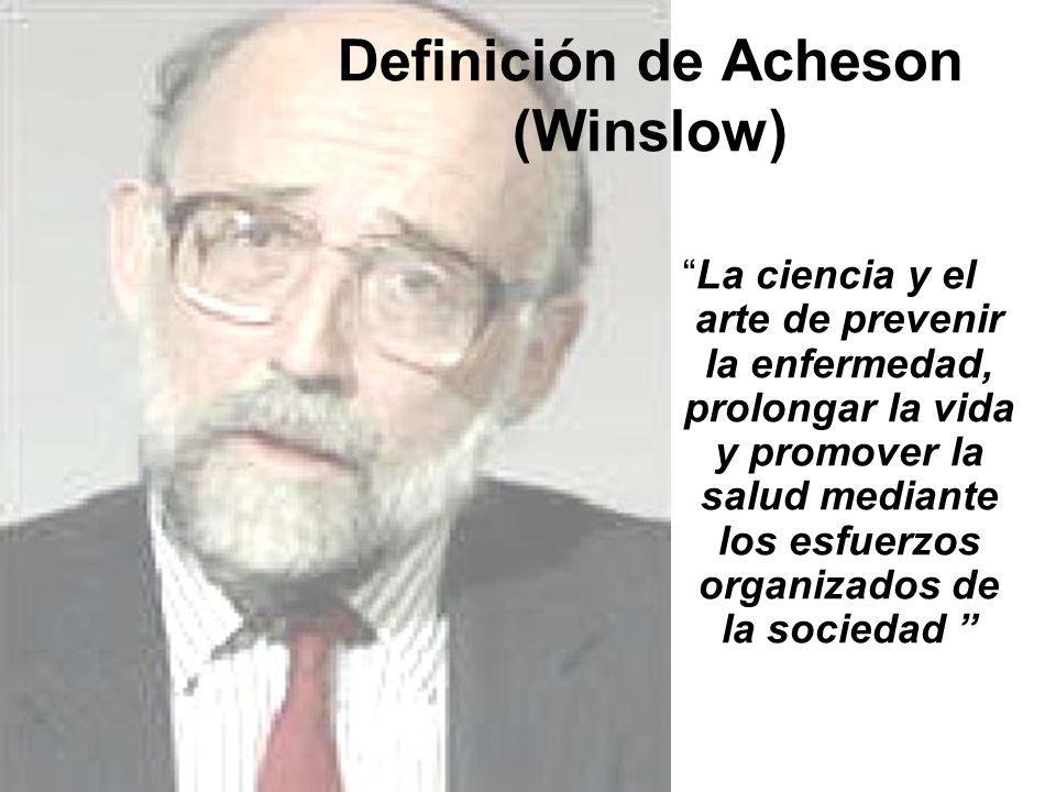 Definición de Acheson (Winslow) La ciencia y el arte de prevenir la enfermedad, prolongar la vida y promover la salud mediante los esfuerzos organizad