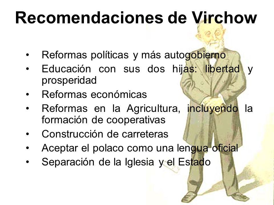 Recomendaciones de Virchow Reformas políticas y más autogobierno Educación con sus dos hijas: libertad y prosperidad Reformas económicas Reformas en l