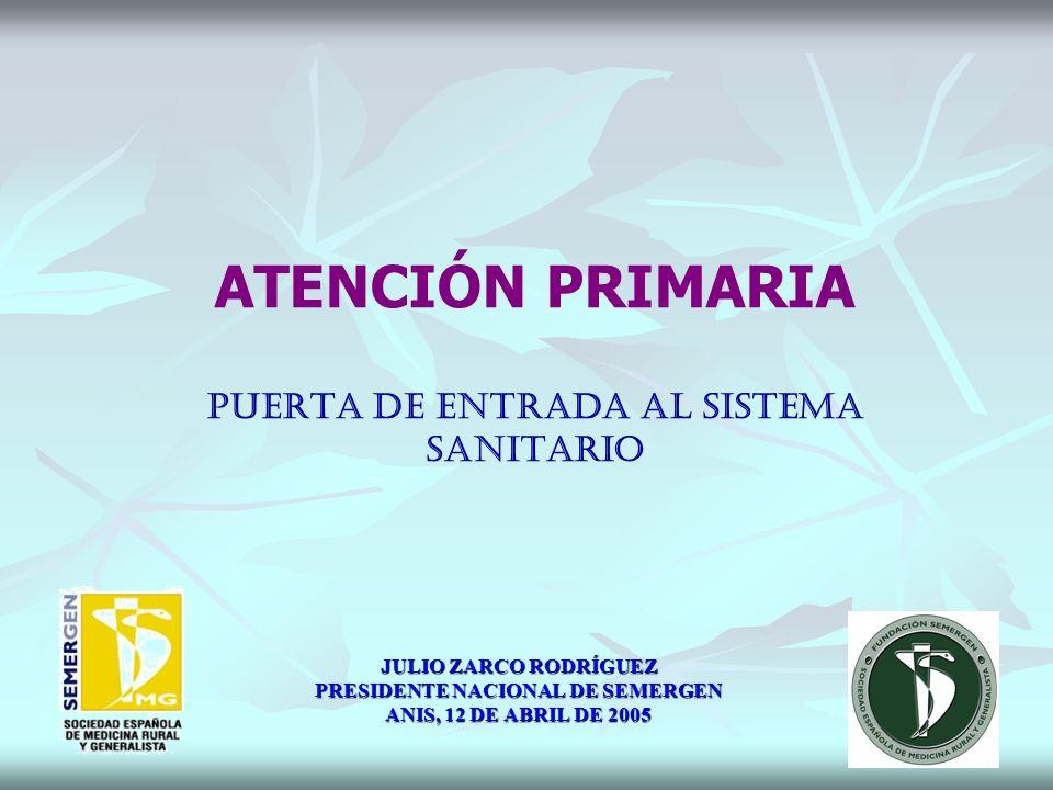 ATENCIÓN PRIMARIA PUERTA DE ENTRADA AL SISTEMA SANITARIO JULIO ZARCO RODRÍGUEZ PRESIDENTE NACIONAL DE SEMERGEN ANIS, 12 DE ABRIL DE 2005