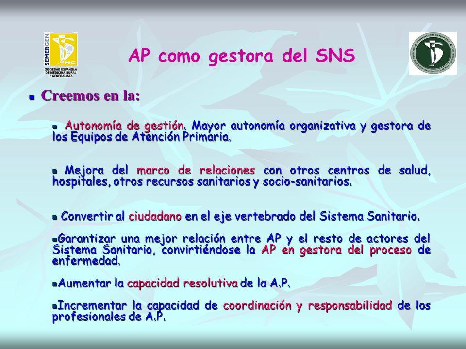 AP como gestora del SNS Creemos en la: Creemos en la: Autonomía de gestión.