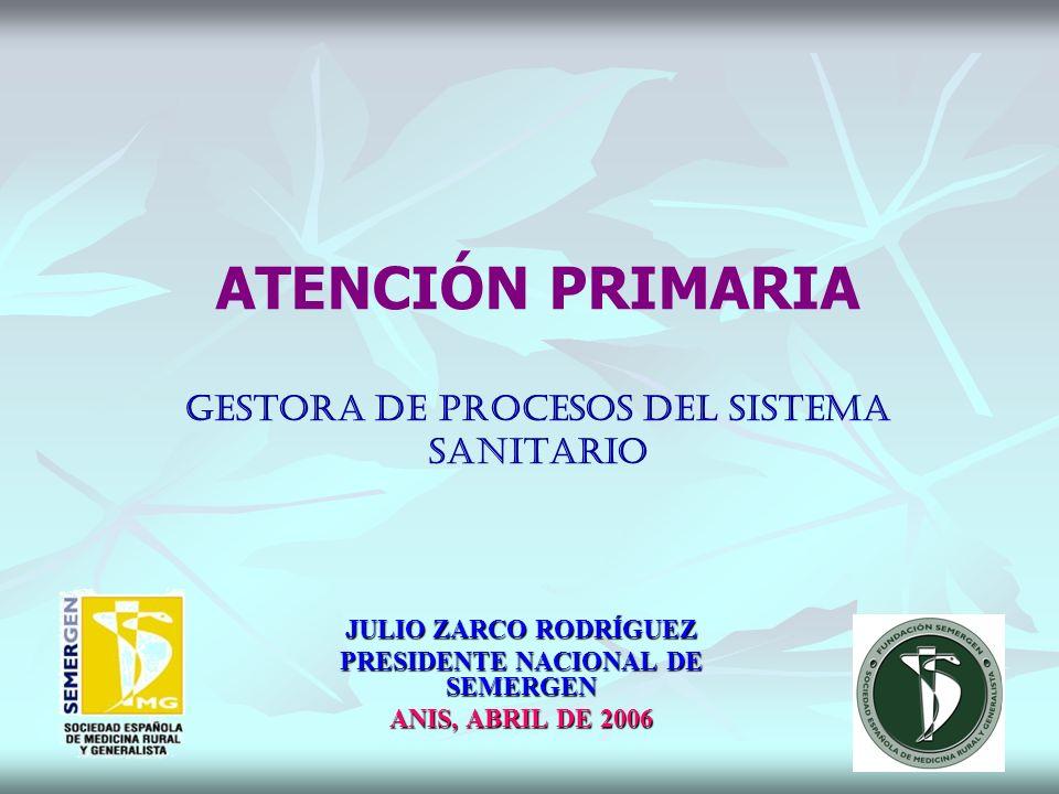 ATENCIÓN PRIMARIA gestora de procesos del sistema sanitario JULIO ZARCO RODRÍGUEZ PRESIDENTE NACIONAL DE SEMERGEN ANIS, ABRIL DE 2006