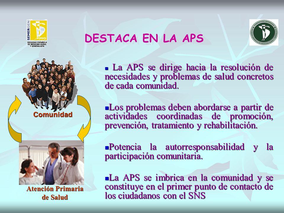 DESTACA EN LA APS La APS se dirige hacia la resolución de necesidades y problemas de salud concretos de cada comunidad.