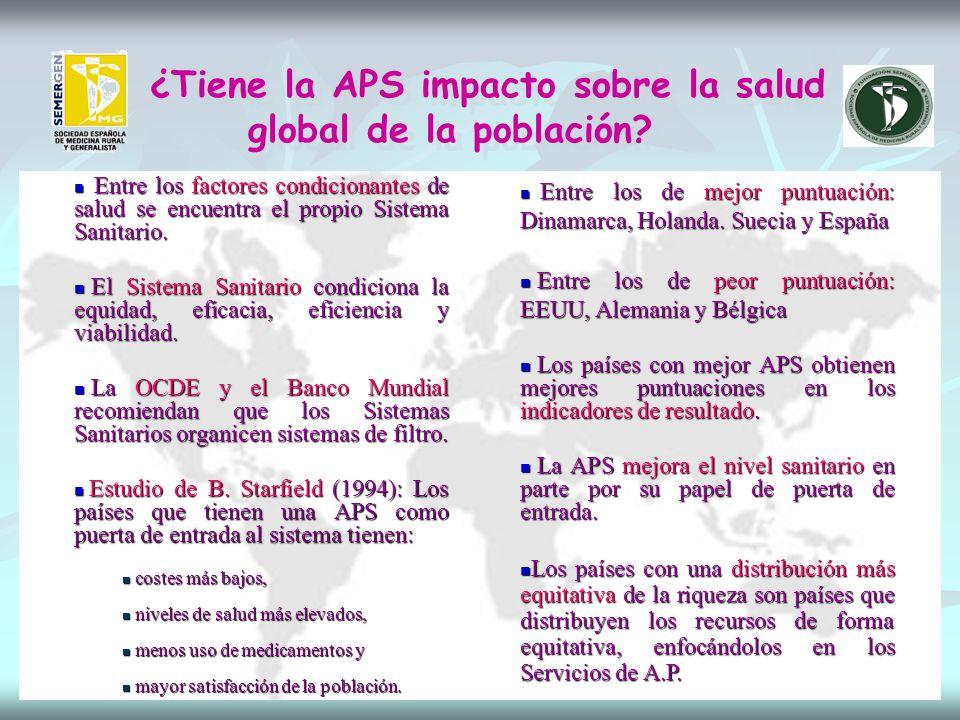 ¿Tiene la APS impacto sobre la salud global de la población.