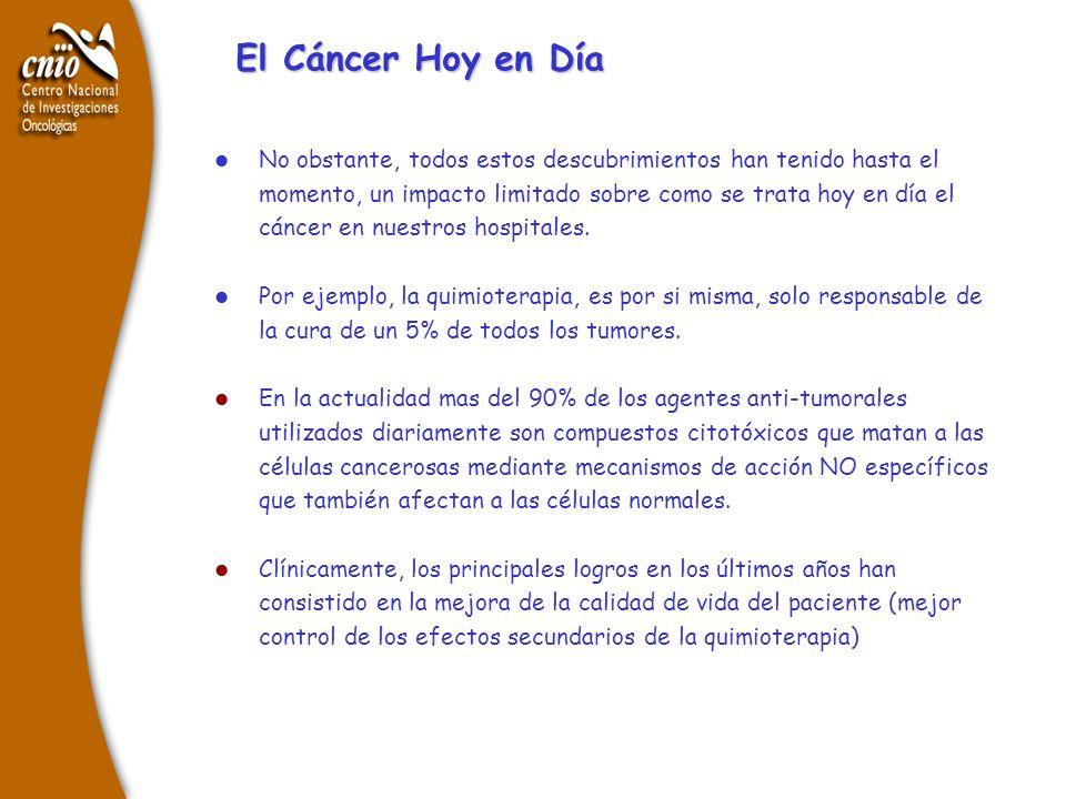 l No obstante, todos estos descubrimientos han tenido hasta el momento, un impacto limitado sobre como se trata hoy en día el cáncer en nuestros hospi