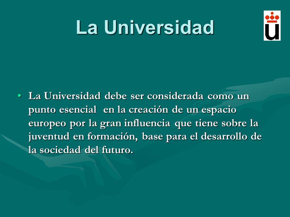 La Universidad La Universidad debe ser considerada como un punto esencial en la creación de un espacio europeo por la gran influencia que tiene sobre