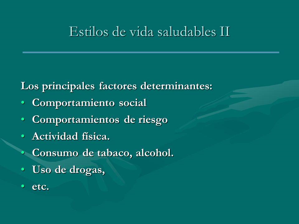 Estilos de vida saludables II Los principales factores determinantes: Comportamiento socialComportamiento social Comportamientos de riesgoComportamien