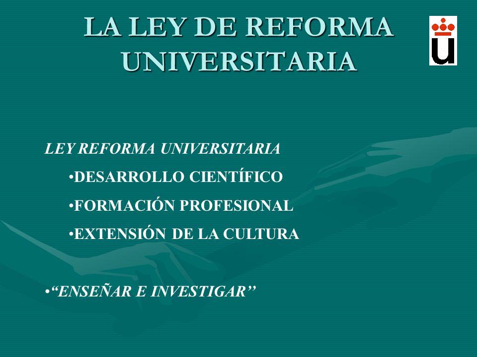 LA LEY DE REFORMA UNIVERSITARIA LEY REFORMA UNIVERSITARIA DESARROLLO CIENTÍFICO FORMACIÓN PROFESIONAL EXTENSIÓN DE LA CULTURA ENSEÑAR E INVESTIGAR