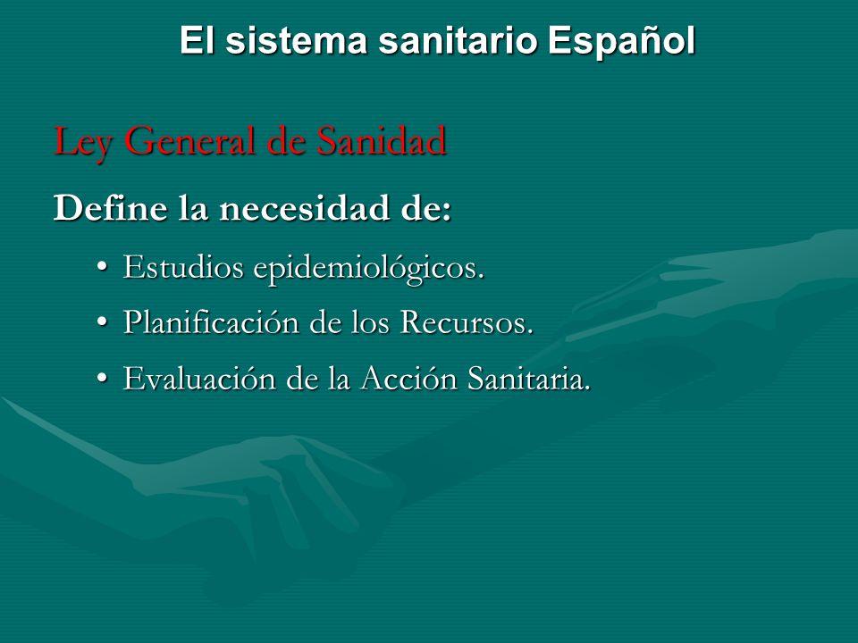Ley General de Sanidad Define la necesidad de: Estudios epidemiológicos.Estudios epidemiológicos. Planificación de los Recursos.Planificación de los R