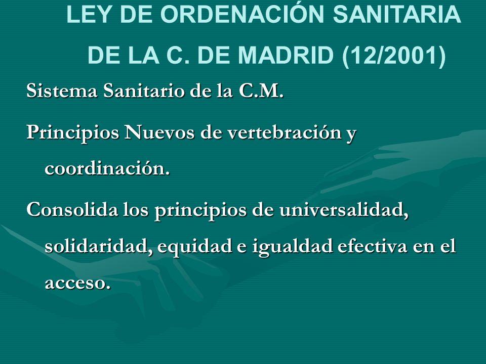 Sistema Sanitario de la C.M. Principios Nuevos de vertebración y coordinación. Consolida los principios de universalidad, solidaridad, equidad e igual