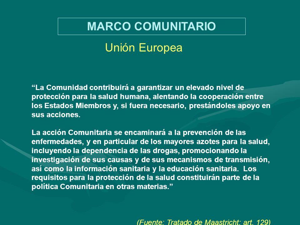 Unión Europea La Comunidad contribuirá a garantizar un elevado nivel de protección para la salud humana, alentando la cooperación entre los Estados Mi