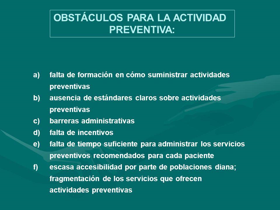 a)falta de formación en cómo suministrar actividades preventivas b)ausencia de estándares claros sobre actividades preventivas c)barreras administrati