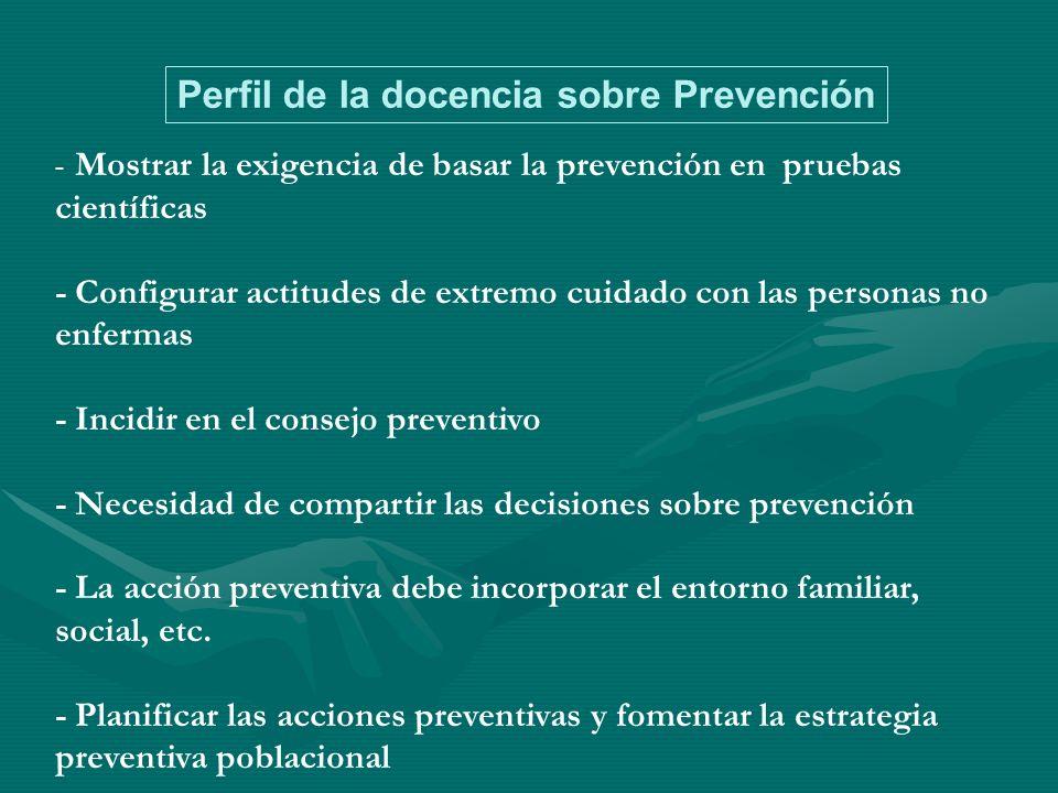 - Mostrar la exigencia de basar la prevención en pruebas científicas -Configurar actitudes de extremo cuidado con las personas no enfermas -Incidir en