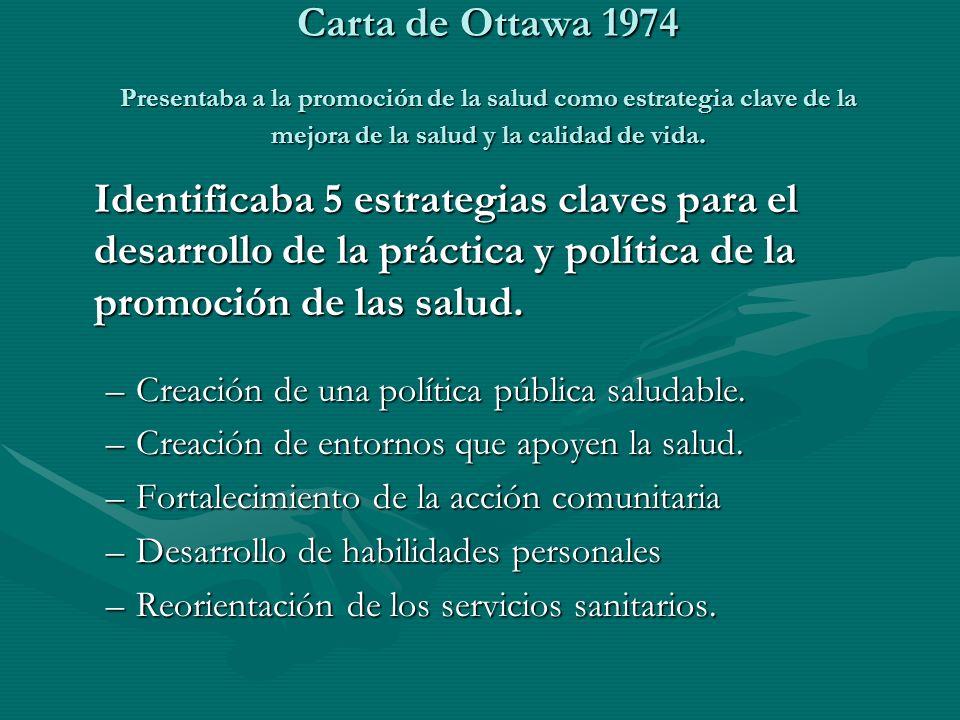 Identificaba 5 estrategias claves para el desarrollo de la práctica y política de la promoción de las salud. –Creación de una política pública saludab
