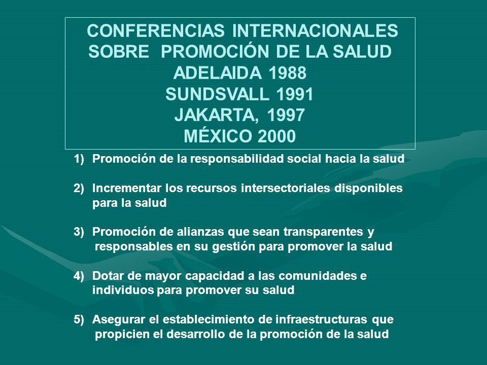 1)Promoción de la responsabilidad social hacia la salud 2)Incrementar los recursos intersectoriales disponibles para la salud 3)Promoción de alianzas