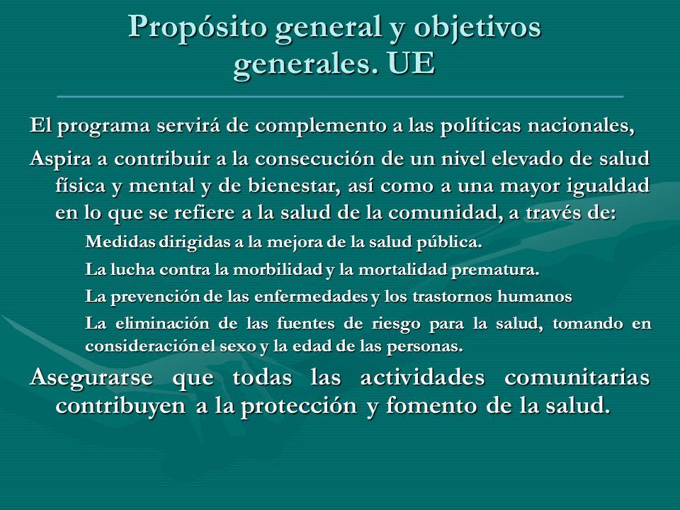 Propósito general y objetivos generales. UE El programa servirá de complemento a las políticas nacionales, Aspira a contribuir a la consecución de un