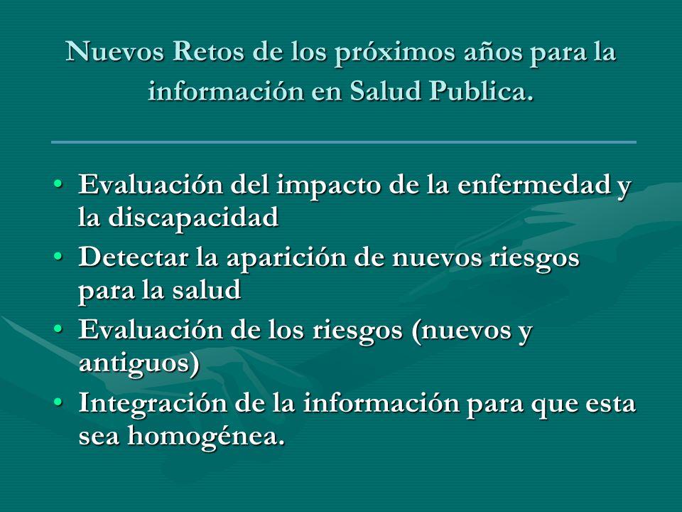 Nuevos Retos de los próximos años para la información en Salud Publica. Evaluación del impacto de la enfermedad y la discapacidadEvaluación del impact