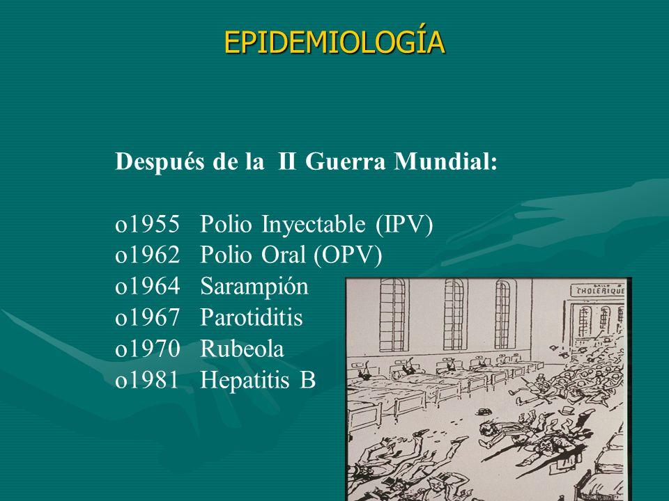Después de la II Guerra Mundial: o1955 Polio Inyectable (IPV) o1962 Polio Oral (OPV) o1964 Sarampión o1967 Parotiditis o1970 Rubeola o1981 Hepatitis B