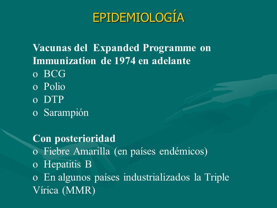 Vacunas del Expanded Programme on Immunization de 1974 en adelante o BCG o Polio o DTP o Sarampión Con posterioridad o Fiebre Amarilla (en países endé