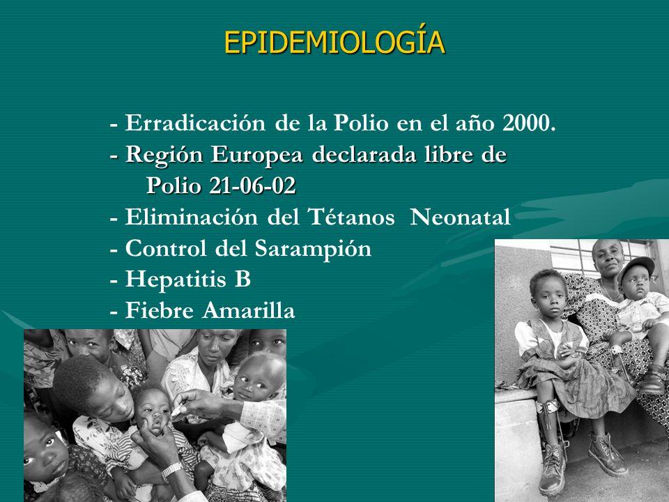 - Erradicación de la Polio en el año 2000. - Región Europea declarada libre de Polio 21-06-02 - Eliminación del Tétanos Neonatal - Control del Sarampi