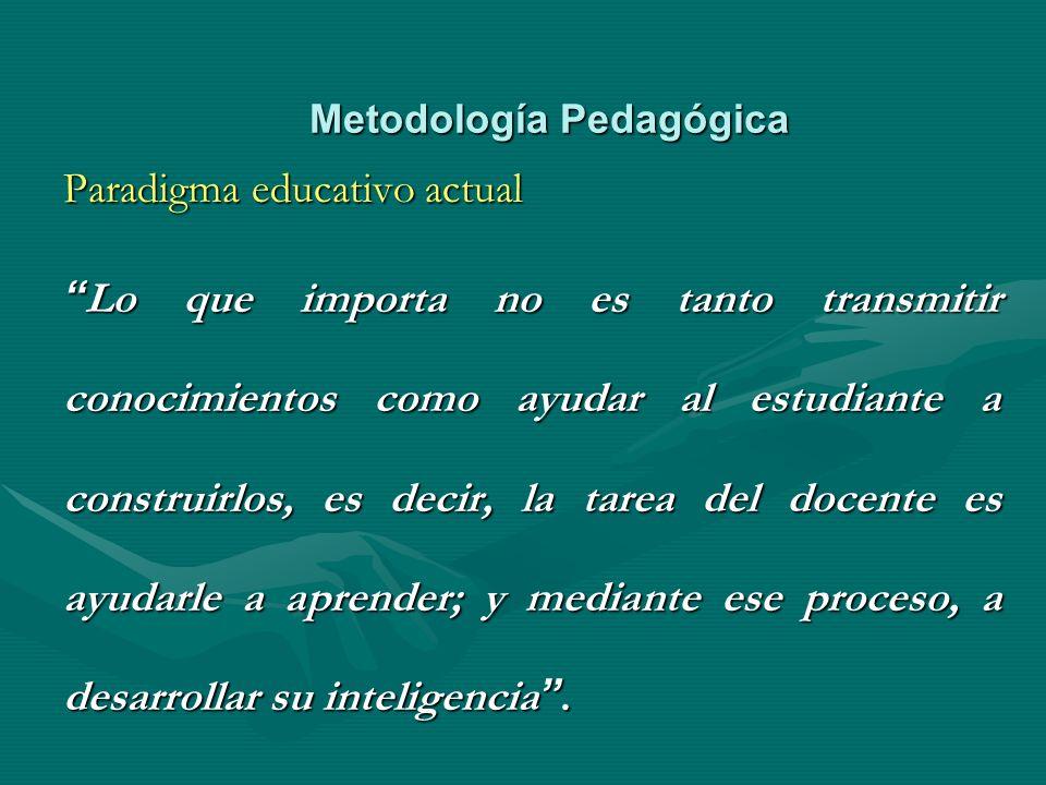 Metodología Pedagógica Paradigma educativo actual Lo que importa no es tanto transmitir conocimientos como ayudar al estudiante a construirlos, es dec