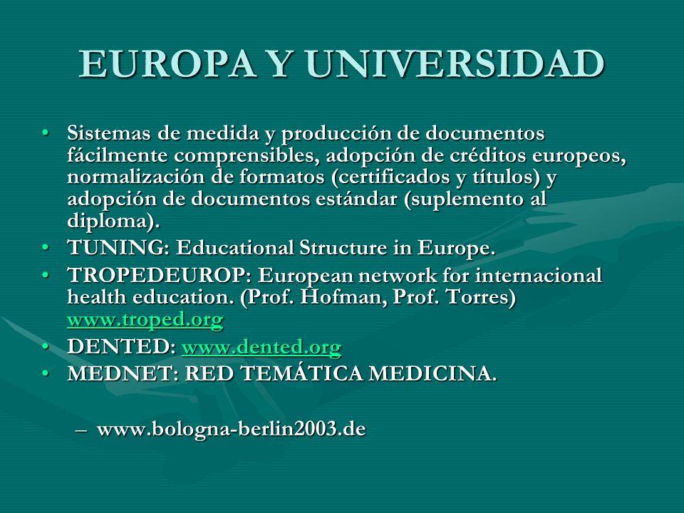EUROPA Y UNIVERSIDAD Sistemas de medida y producción de documentos fácilmente comprensibles, adopción de créditos europeos, normalización de formatos