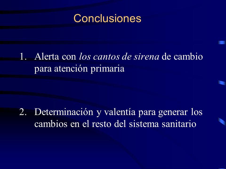 Conclusiones 1.Alerta con los cantos de sirena de cambio para atención primaria 2.Determinación y valentía para generar los cambios en el resto del si