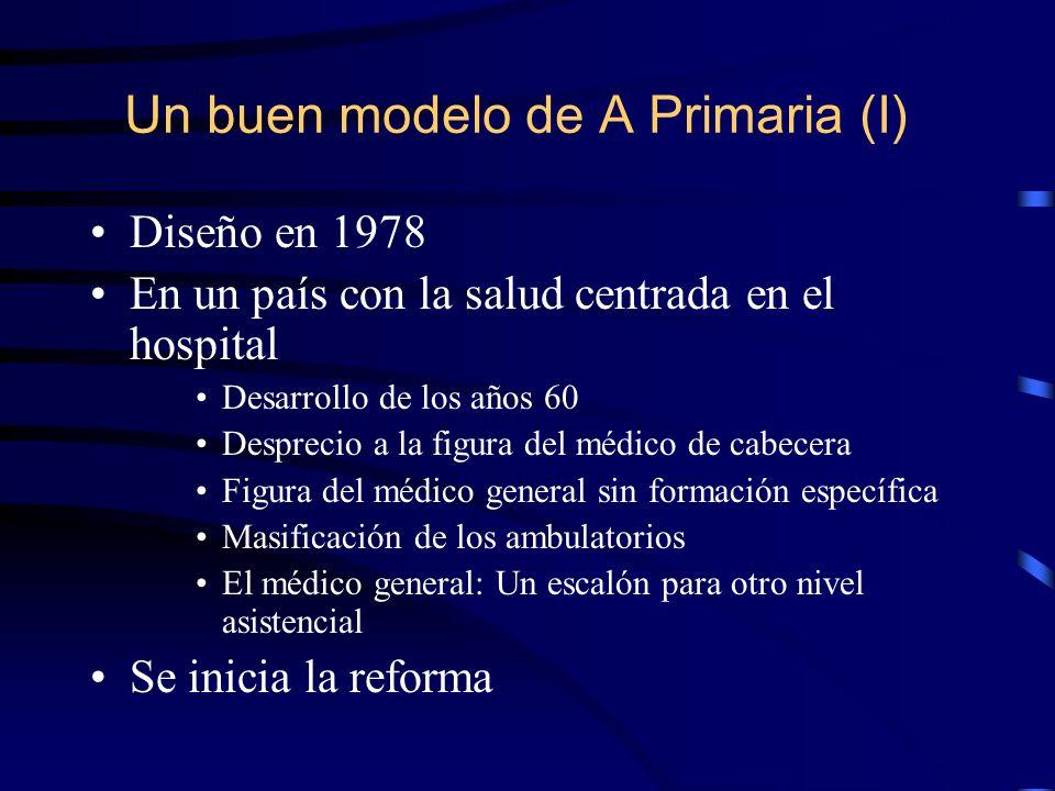 Un buen modelo de A Primaria (I) Diseño en 1978 En un país con la salud centrada en el hospital Desarrollo de los años 60 Desprecio a la figura del mé