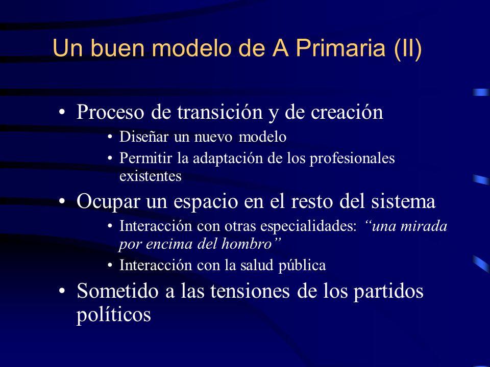 Un buen modelo de A Primaria (II) Proceso de transición y de creación Diseñar un nuevo modelo Permitir la adaptación de los profesionales existentes O