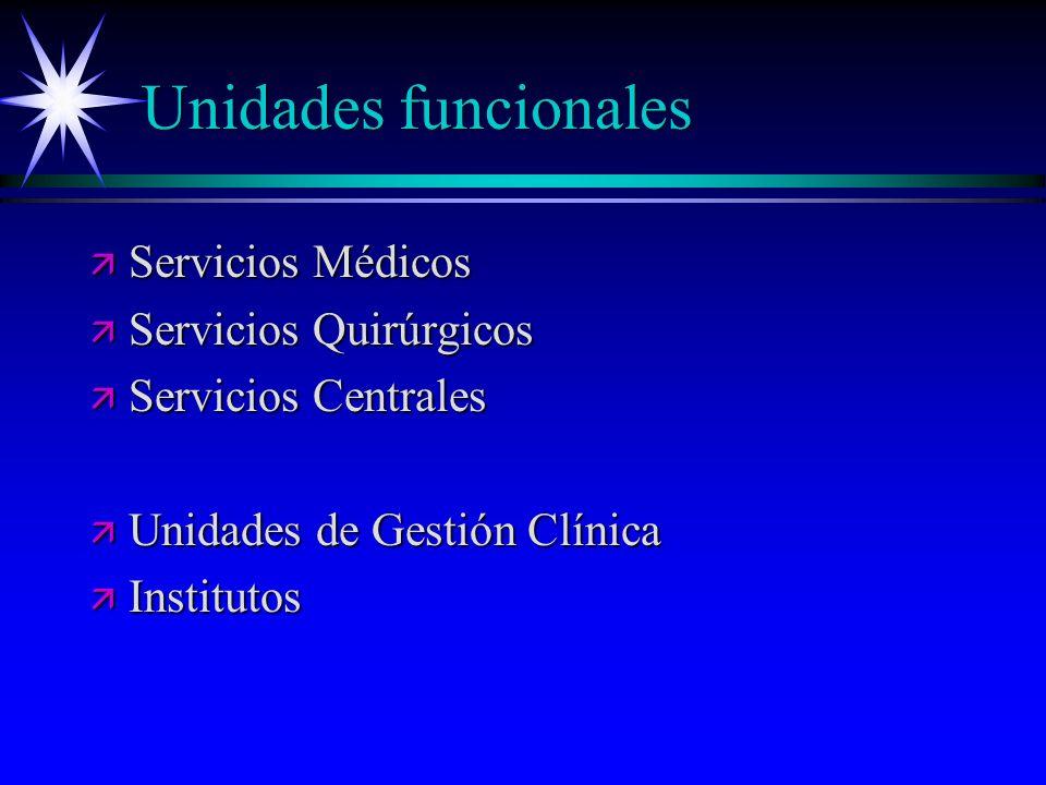 Unidades funcionales ä Servicios Médicos ä Servicios Quirúrgicos ä Servicios Centrales ä Unidades de Gestión Clínica ä Institutos