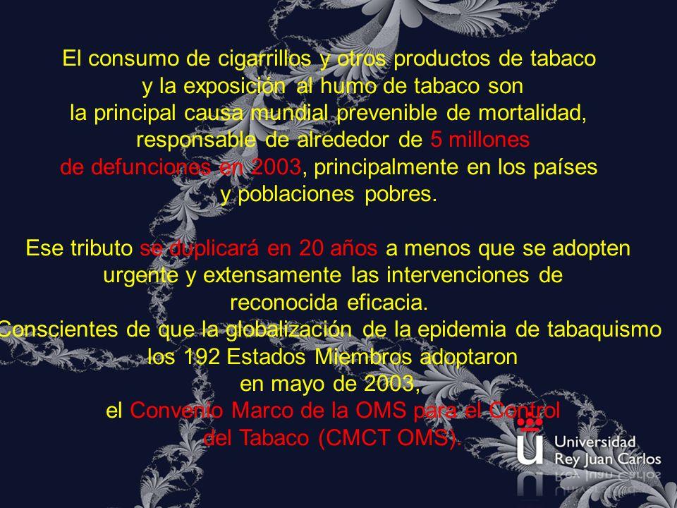 El consumo de cigarrillos y otros productos de tabaco y la exposición al humo de tabaco son la principal causa mundial prevenible de mortalidad, respo