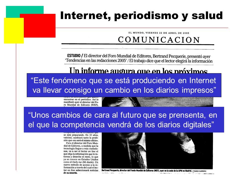 Este fenómeno que se está produciendo en Internet va llevar consigo un cambio en los diarios impresos Unos cambios de cara al futuro que se prensenta, en el que la competencia vendrá de los diarios digitales
