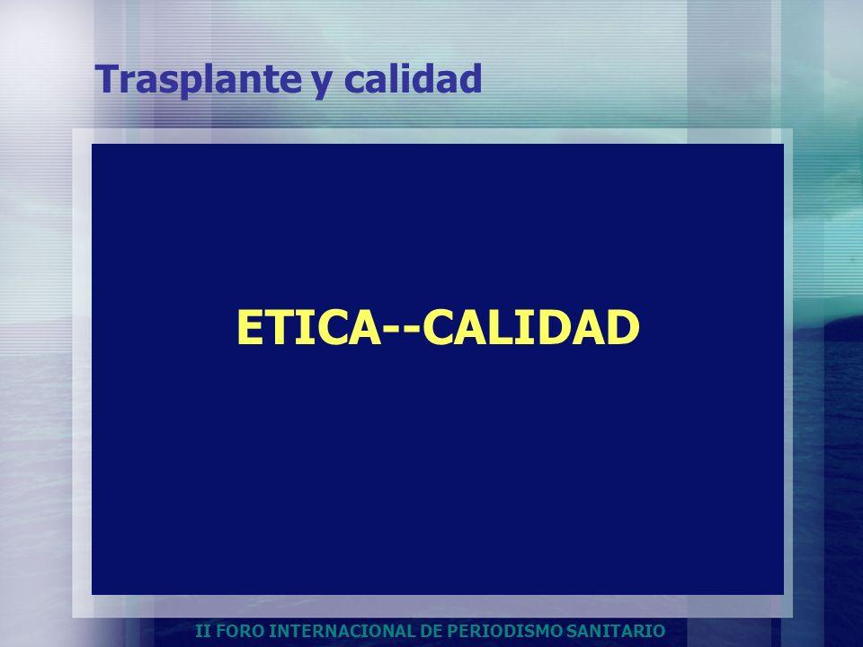 II FORO INTERNACIONAL DE PERIODISMO SANITARIO ETICA--CALIDAD Trasplante y calidad